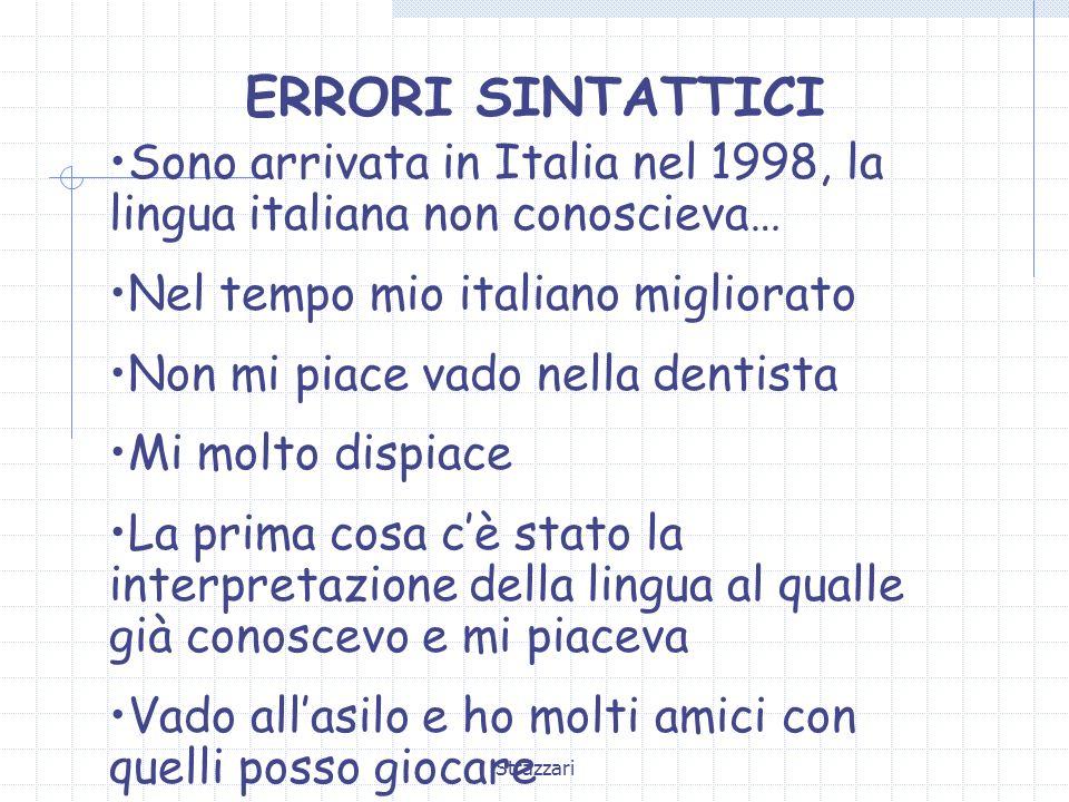 Strazzari ERRORI SINTATTICI Sono arrivata in Italia nel 1998, la lingua italiana non conoscieva… Nel tempo mio italiano migliorato Non mi piace vado n
