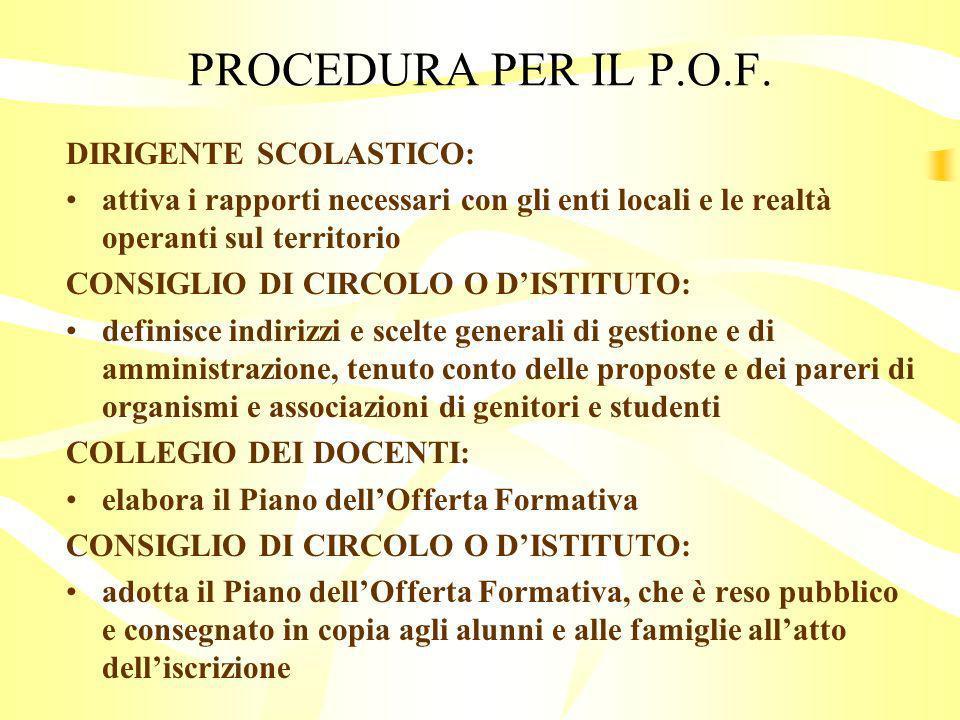 PROCEDURA PER IL P.O.F.