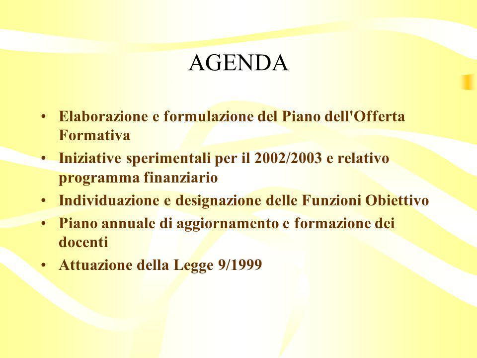 AGENDA Elaborazione e formulazione del Piano dell Offerta Formativa Iniziative sperimentali per il 2002/2003 e relativo programma finanziario Individuazione e designazione delle Funzioni Obiettivo Piano annuale di aggiornamento e formazione dei docenti Attuazione della Legge 9/1999