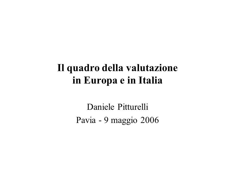 Il quadro della valutazione in Europa e in Italia Daniele Pitturelli Pavia - 9 maggio 2006