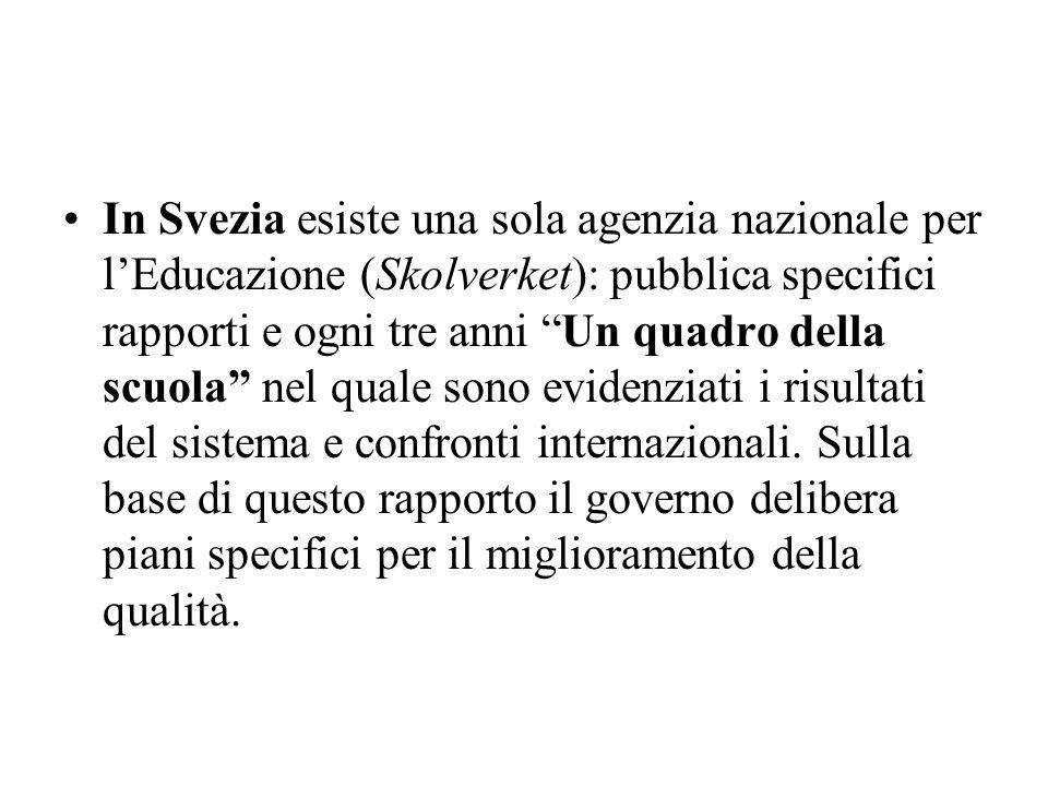 In Svezia esiste una sola agenzia nazionale per lEducazione (Skolverket): pubblica specifici rapporti e ogni tre anni Un quadro della scuola nel quale