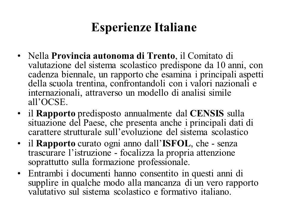 Esperienze Italiane Nella Provincia autonoma di Trento, il Comitato di valutazione del sistema scolastico predispone da 10 anni, con cadenza biennale,