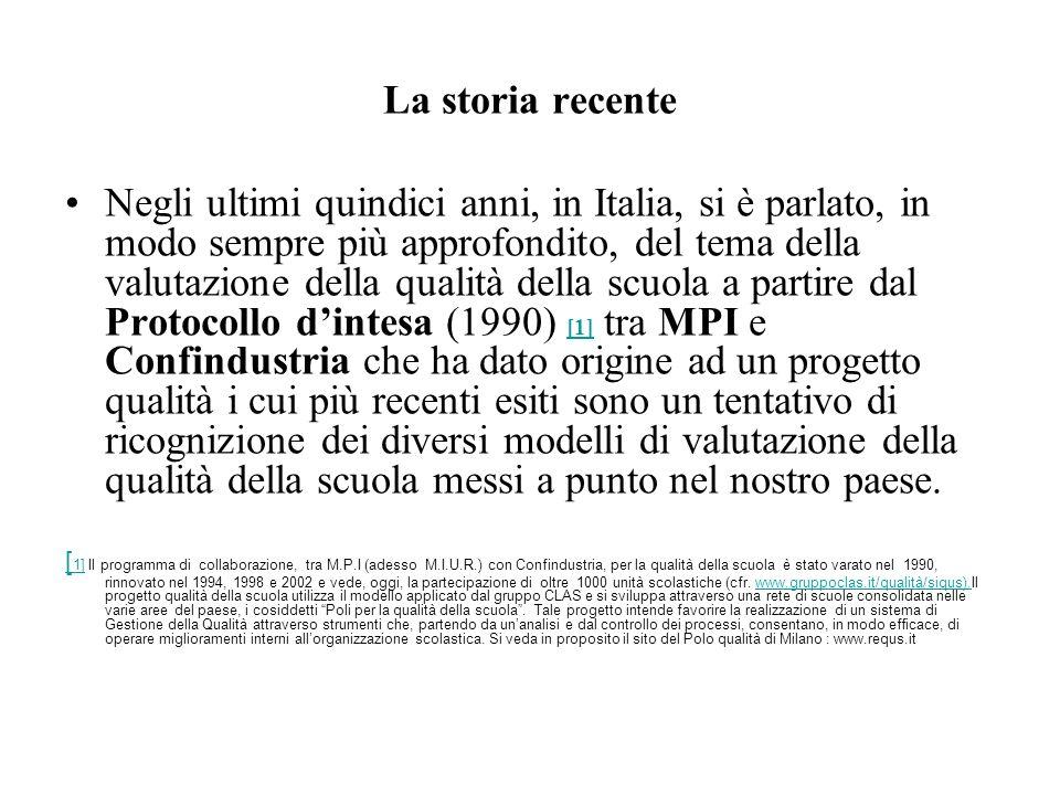 La storia recente Negli ultimi quindici anni, in Italia, si è parlato, in modo sempre più approfondito, del tema della valutazione della qualità della