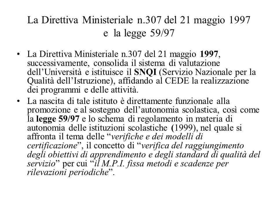 La Direttiva Ministeriale n.307 del 21 maggio 1997 e la legge 59/97 La Direttiva Ministeriale n.307 del 21 maggio 1997, successivamente, consolida il