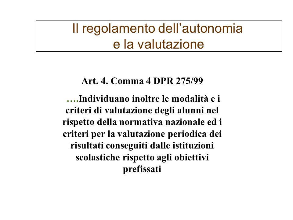 Il regolamento dellautonomia e la valutazione Art. 4. Comma 4 DPR 275/99 ….Individuano inoltre le modalità e i criteri di valutazione degli alunni nel