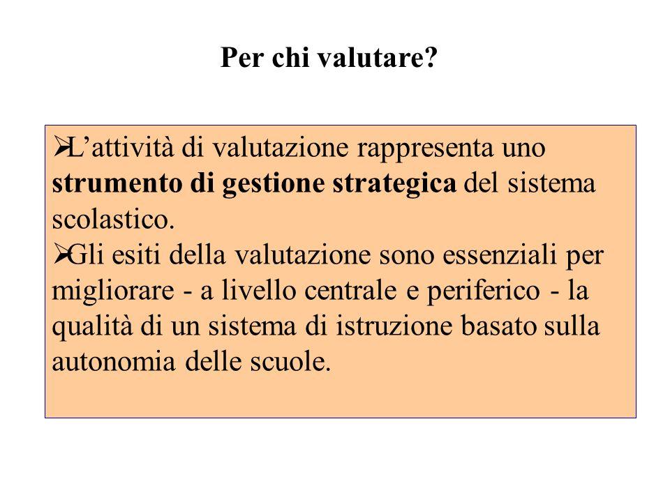 Lattività di valutazione rappresenta uno strumento di gestione strategica del sistema scolastico. Gli esiti della valutazione sono essenziali per migl