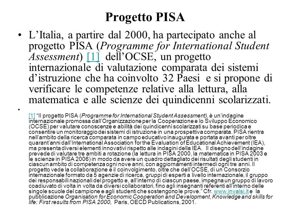 Progetto PISA LItalia, a partire dal 2000, ha partecipato anche al progetto PISA (Programme for International Student Assessment) [1] dellOCSE, un pro