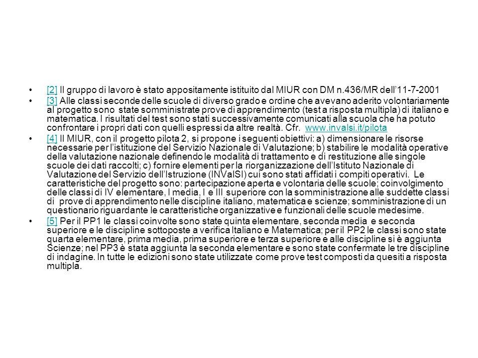 [2] Il gruppo di lavoro è stato appositamente istituito dal MIUR con DM n.436/MR dell11-7-2001[2] [3] Alle classi seconde delle scuole di diverso grad