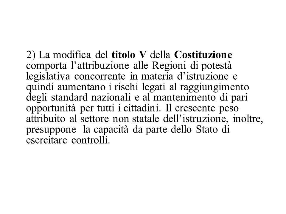 2) La modifica del titolo V della Costituzione comporta lattribuzione alle Regioni di potestà legislativa concorrente in materia distruzione e quindi