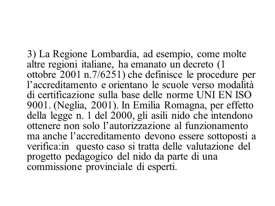 3) La Regione Lombardia, ad esempio, come molte altre regioni italiane, ha emanato un decreto (1 ottobre 2001 n.7/6251) che definisce le procedure per