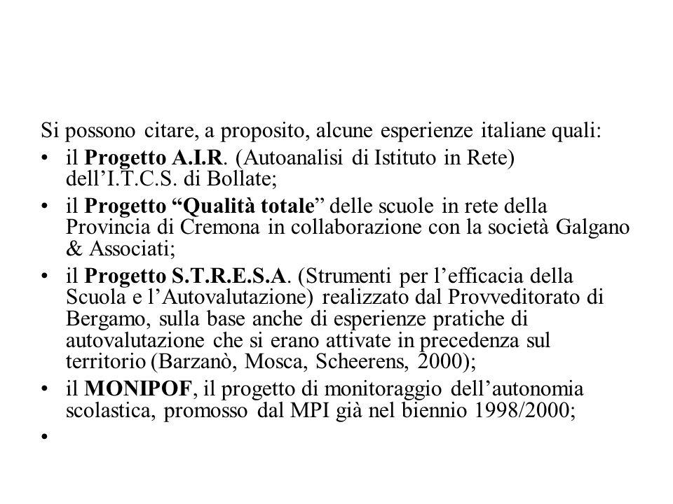 Si possono citare, a proposito, alcune esperienze italiane quali: il Progetto A.I.R. (Autoanalisi di Istituto in Rete) dellI.T.C.S. di Bollate; il Pro