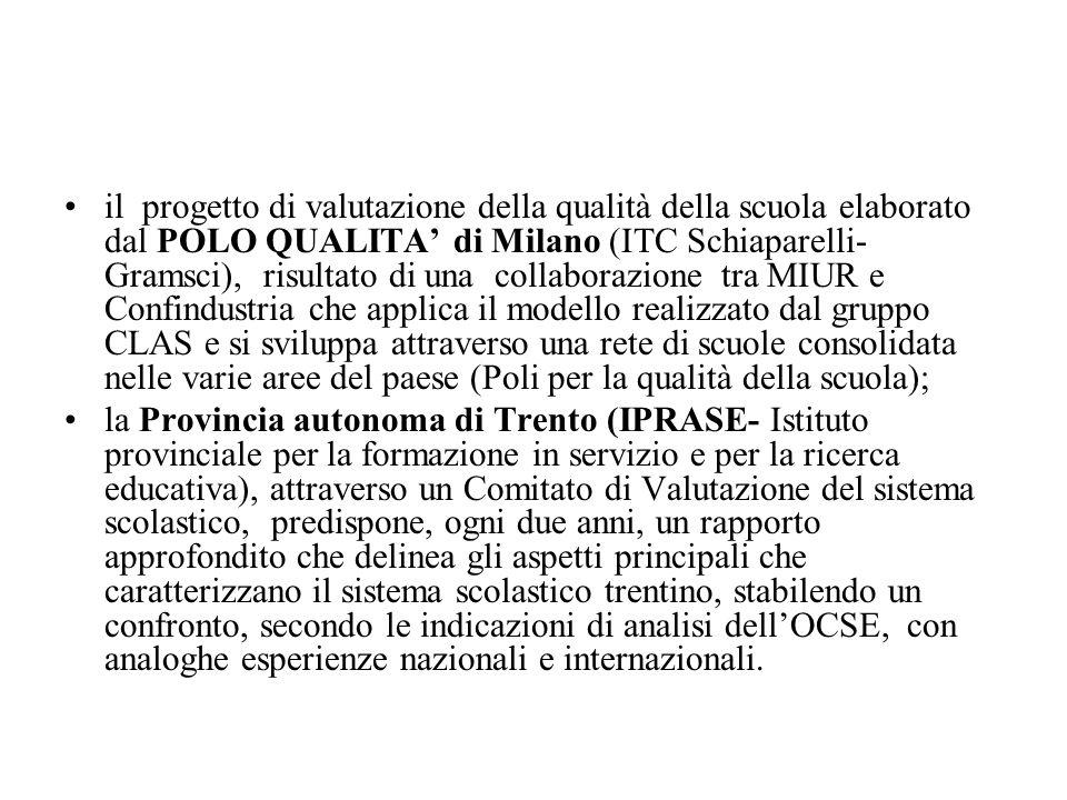il progetto di valutazione della qualità della scuola elaborato dal POLO QUALITA di Milano (ITC Schiaparelli- Gramsci), risultato di una collaborazion