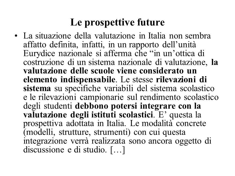 Le prospettive future La situazione della valutazione in Italia non sembra affatto definita, infatti, in un rapporto dellunità Eurydice nazionale si a