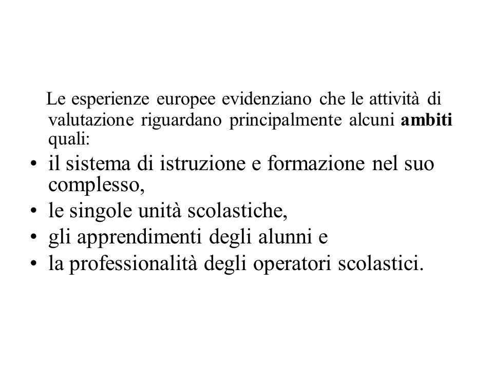 Le esperienze europee evidenziano che le attività di valutazione riguardano principalmente alcuni ambiti quali: il sistema di istruzione e formazione