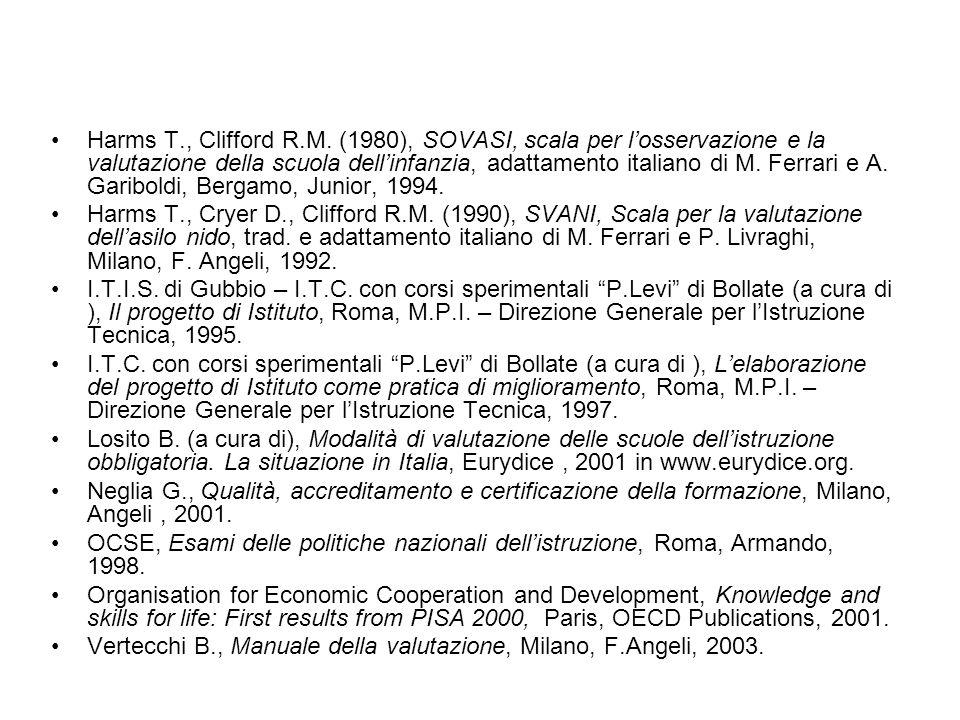 Harms T., Clifford R.M. (1980), SOVASI, scala per losservazione e la valutazione della scuola dellinfanzia, adattamento italiano di M. Ferrari e A. Ga