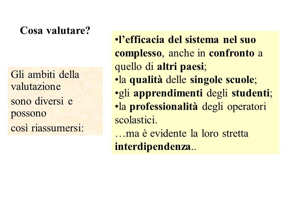 Cosa valutare? Gli ambiti della valutazione sono diversi e possono così riassumersi: lefficacia del sistema nel suo complesso, anche in confronto a qu