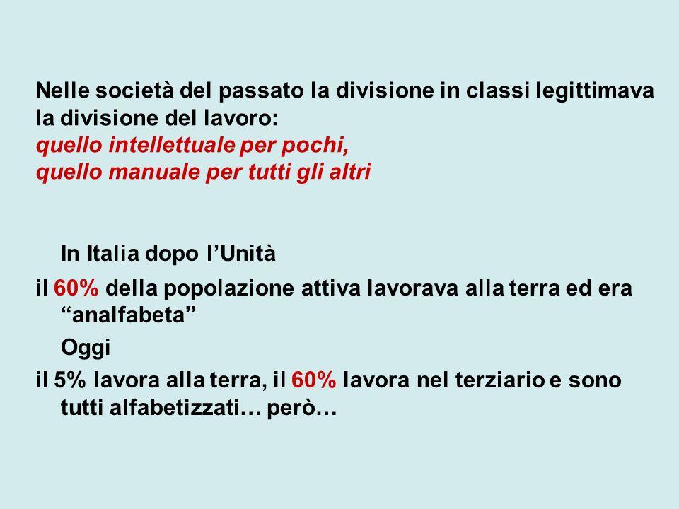 Nelle società del passato la divisione in classi legittimava la divisione del lavoro: quello intellettuale per pochi, quello manuale per tutti gli alt