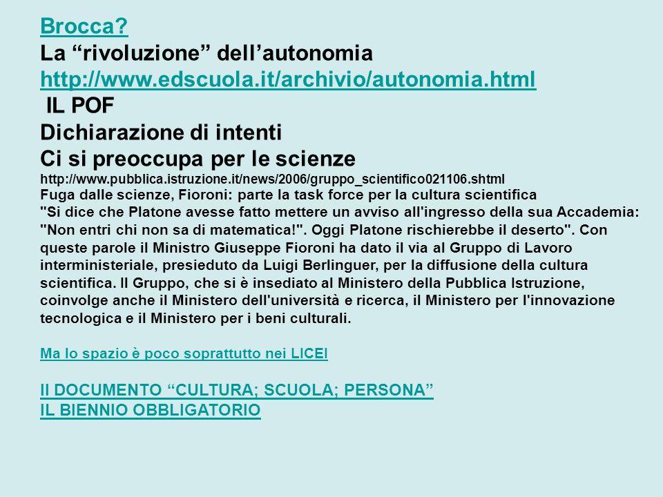 Brocca? La rivoluzione dellautonomia http://www.edscuola.it/archivio/autonomia.html IL POF Dichiarazione di intenti Ci si preoccupa per le scienze htt