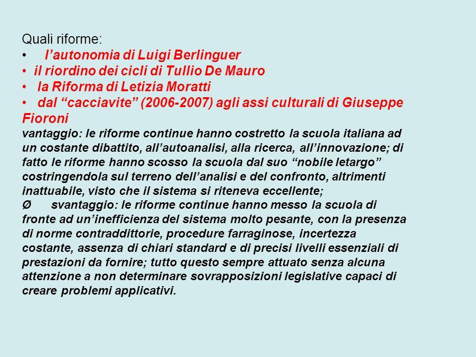 Quali riforme: lautonomia di Luigi Berlinguer il riordino dei cicli di Tullio De Mauro la Riforma di Letizia Moratti dal cacciavite (2006-2007) agli a