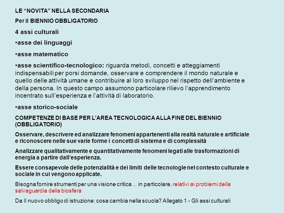 LE NOVITA NELLA SECONDARIA Per il BIENNIO OBBLIGATORIO 4 assi culturali asse dei linguaggi asse matematico asse scientifico-tecnologico: riguarda meto