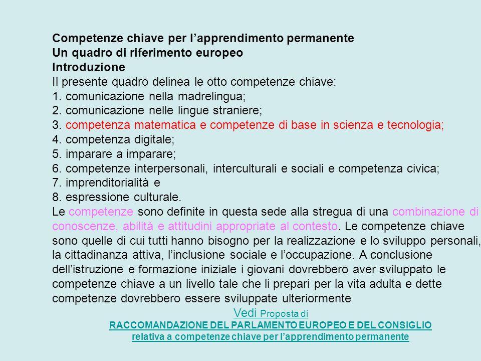 Competenze chiave per lapprendimento permanente Un quadro di riferimento europeo Introduzione Il presente quadro delinea le otto competenze chiave: 1.