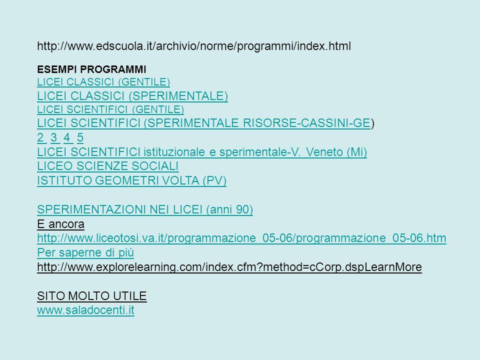 http://www.edscuola.it/archivio/norme/programmi/index.html ESEMPI PROGRAMMI LICEI CLASSICI (GENTILE) LICEI CLASSICI (SPERIMENTALE) LICEI SCIENTIFICI (