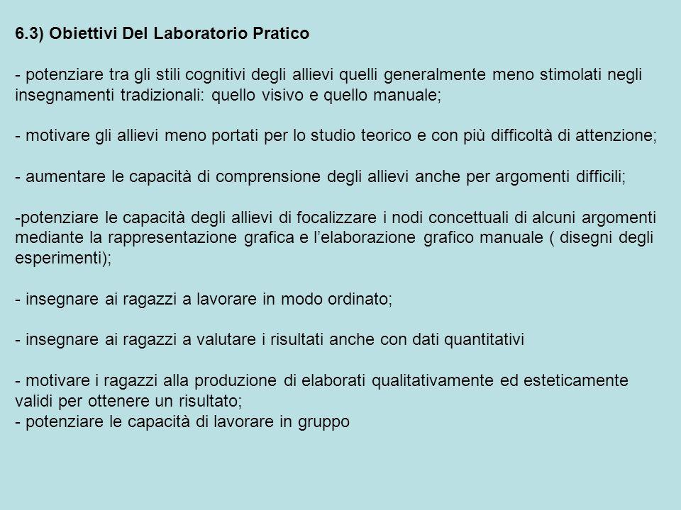 6.3) Obiettivi Del Laboratorio Pratico - potenziare tra gli stili cognitivi degli allievi quelli generalmente meno stimolati negli insegnamenti tradiz