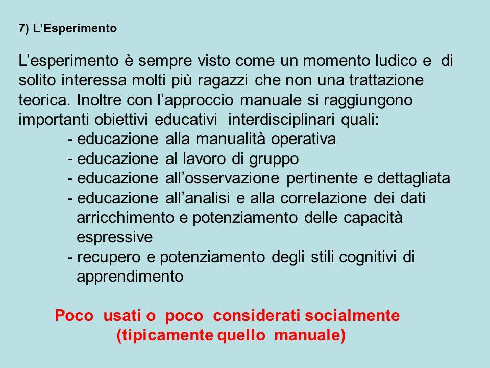 7) LEsperimento Lesperimento è sempre visto come un momento ludico e di solito interessa molti più ragazzi che non una trattazione teorica. Inoltre co