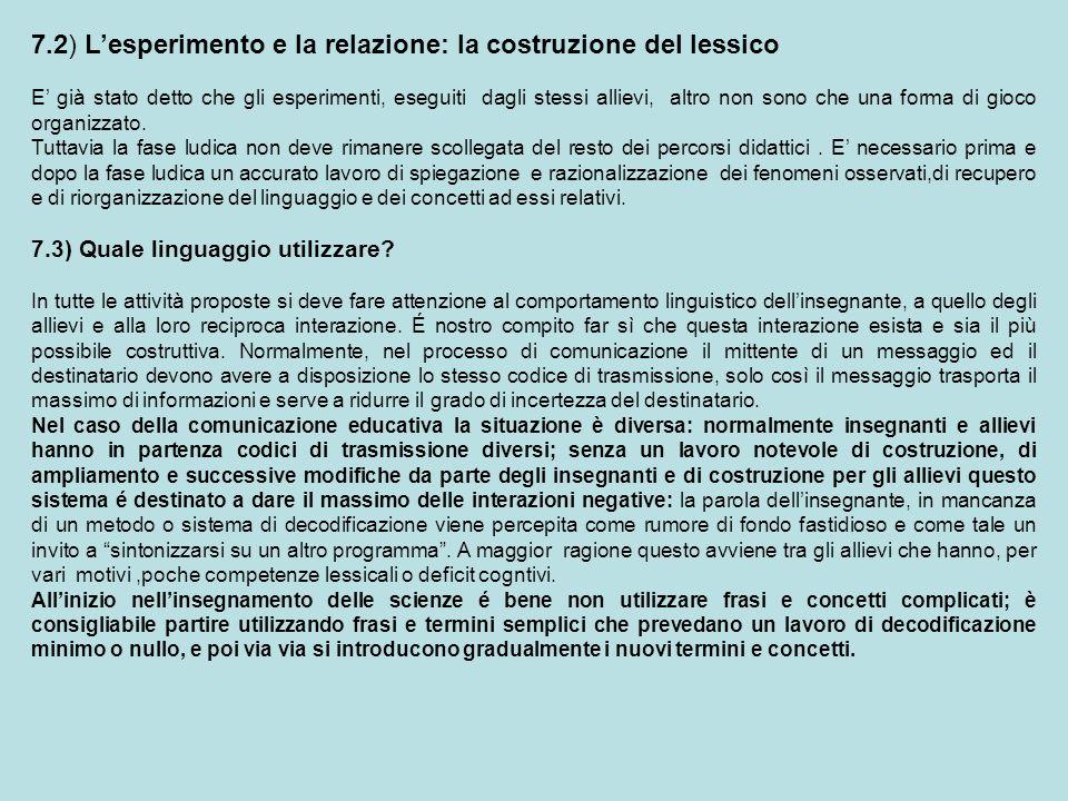 7.2) Lesperimento e la relazione: la costruzione del lessico E già stato detto che gli esperimenti, eseguiti dagli stessi allievi, altro non sono che