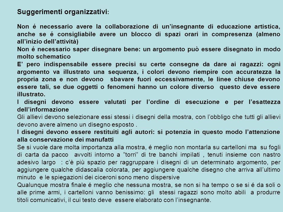 Suggerimenti organizzativi : Non é necessario avere la collaborazione di uninsegnante di educazione artistica, anche se é consigliabile avere un blocc