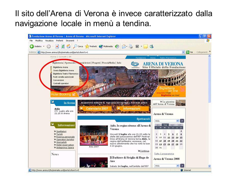 Il sito dellArena di Verona è invece caratterizzato dalla navigazione locale in menù a tendina.