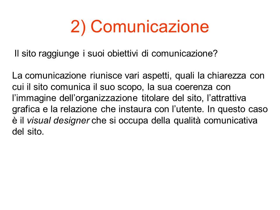 2) Comunicazione Il sito raggiunge i suoi obiettivi di comunicazione.