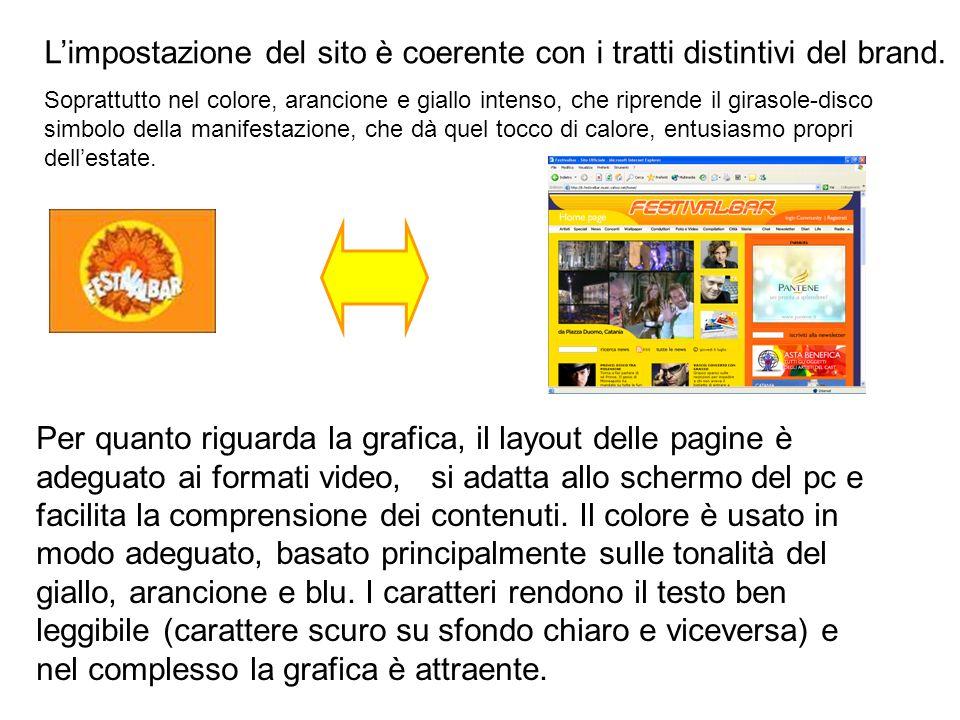 Limpostazione del sito è coerente con i tratti distintivi del brand.