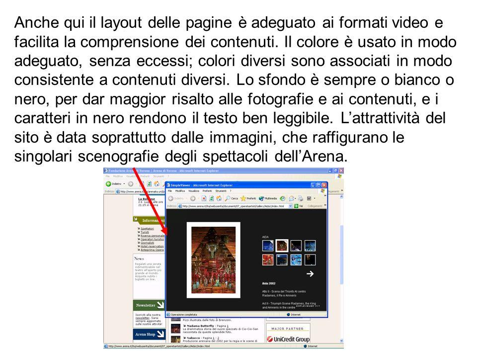 Anche qui il layout delle pagine è adeguato ai formati video e facilita la comprensione dei contenuti.