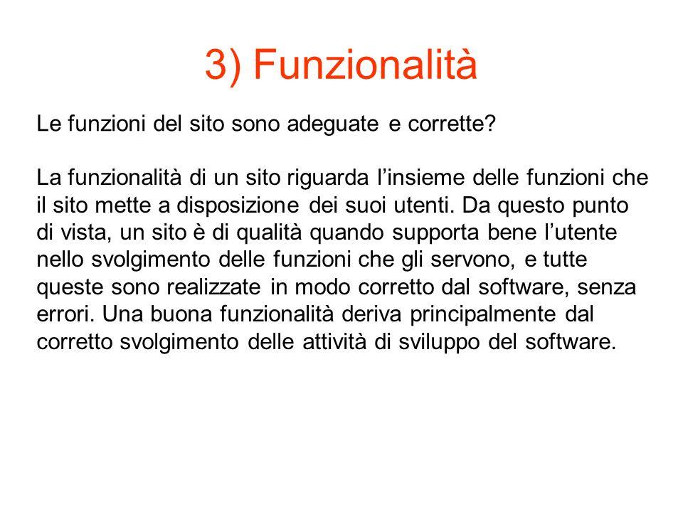 3) Funzionalità Le funzioni del sito sono adeguate e corrette.