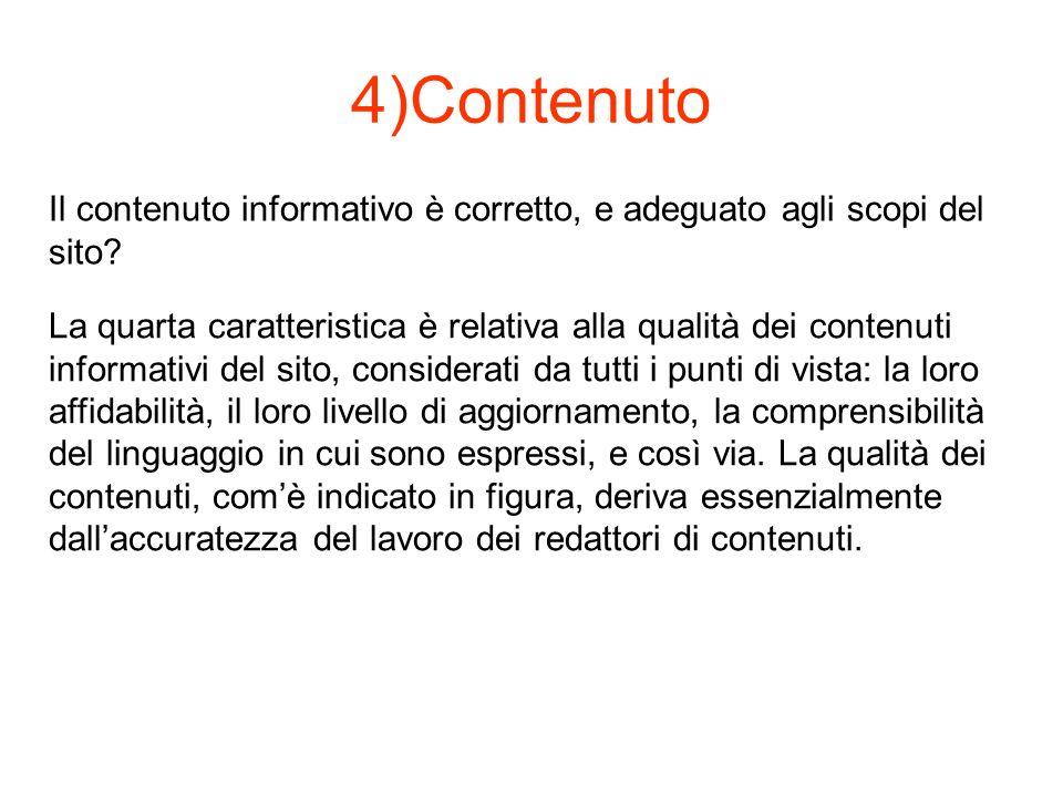 4)Contenuto Il contenuto informativo è corretto, e adeguato agli scopi del sito.