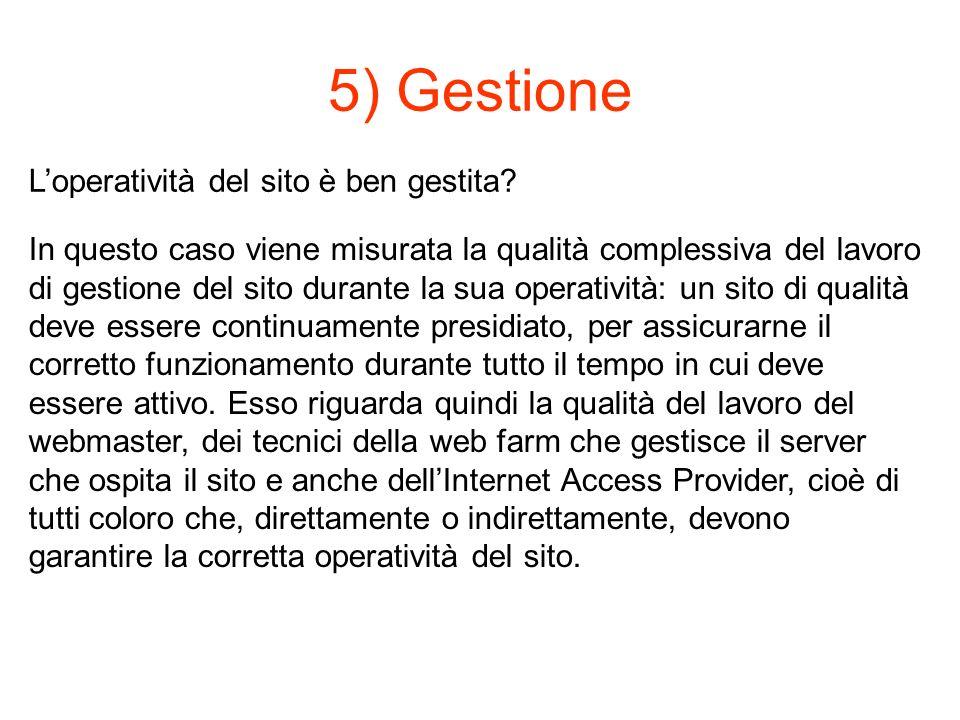 5) Gestione Loperatività del sito è ben gestita.