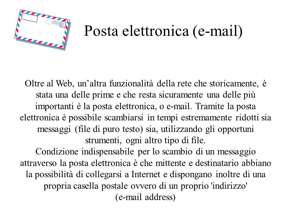 Posta elettronica (e-mail) Oltre al Web, unaltra funzionalità della rete che storicamente, è stata una delle prime e che resta sicuramente una delle più importanti è la posta elettronica, o e-mail.