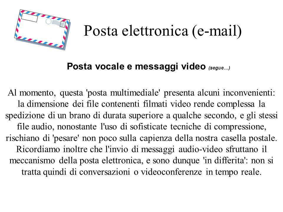 Posta elettronica (e-mail) Posta vocale e messaggi video (segue…) Al momento, questa 'posta multimediale' presenta alcuni inconvenienti: la dimensione