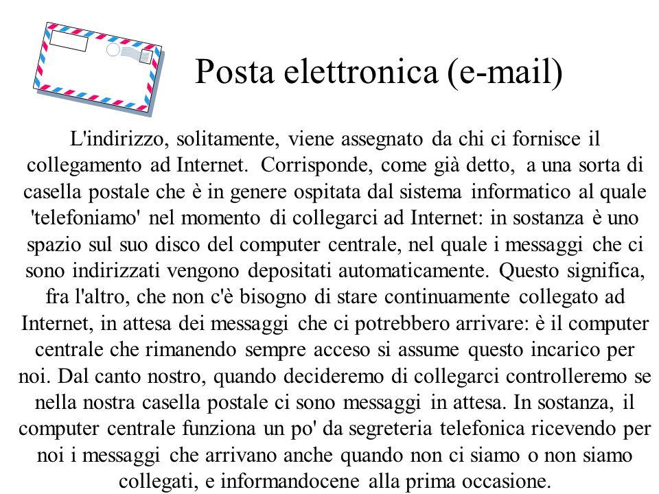Posta elettronica (e-mail) L indirizzo, solitamente, viene assegnato da chi ci fornisce il collegamento ad Internet.
