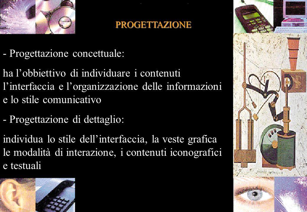 PROGETTAZIONE - Progettazione concettuale: ha lobbiettivo di individuare i contenuti linterfaccia e lorganizzazione delle informazioni e lo stile comunicativo - Progettazione di dettaglio: individua lo stile dellinterfaccia, la veste grafica le modalità di interazione, i contenuti iconografici e testuali