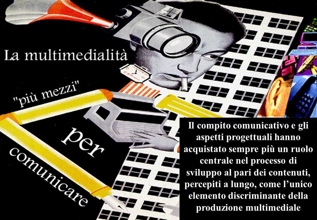 La multimedialità ha rappresentato, per troppo tempo, una evoluzione digitale dei testi a stampa Il compito comunicativo e gli aspetti progettuali hanno acquistato sempre più un ruolo centrale nel processo di sviluppo al pari dei contenuti, percepiti a lungo, come lunico elemento discriminante della produzione multimediale