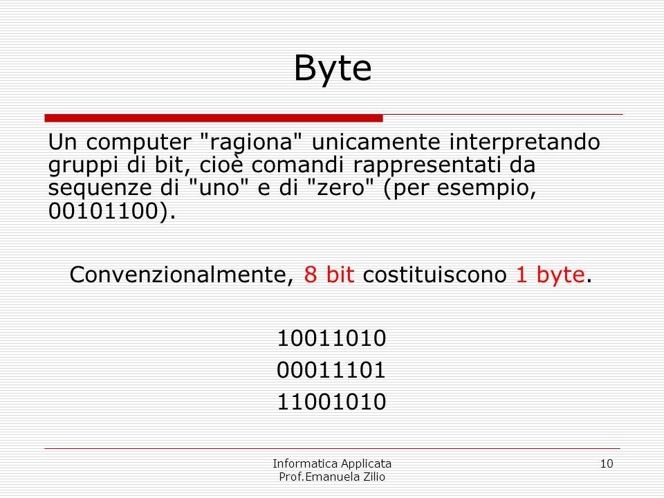 Informatica Applicata Prof.Emanuela Zilio 10 Byte Un computer