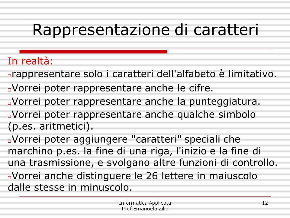 Informatica Applicata Prof.Emanuela Zilio 12 Rappresentazione di caratteri In realtà: rappresentare solo i caratteri dell'alfabeto è limitativo. Vorre
