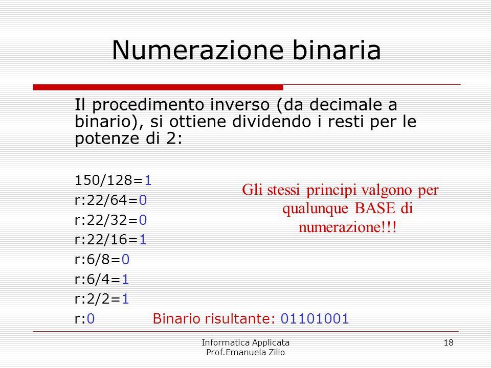 Informatica Applicata Prof.Emanuela Zilio 18 Numerazione binaria Il procedimento inverso (da decimale a binario), si ottiene dividendo i resti per le