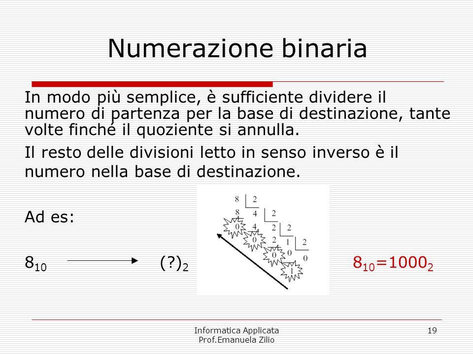 Informatica Applicata Prof.Emanuela Zilio 19 Numerazione binaria In modo più semplice, è sufficiente dividere il numero di partenza per la base di des