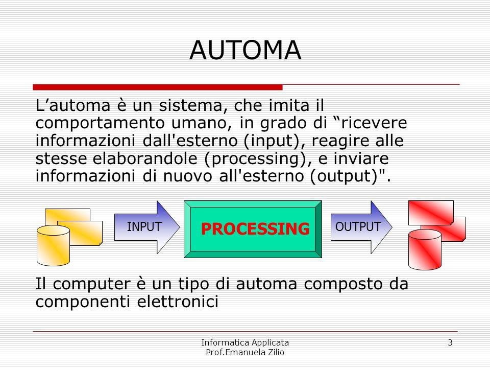 Informatica Applicata Prof.Emanuela Zilio 3 AUTOMA Lautoma è un sistema, che imita il comportamento umano, in grado di ricevere informazioni dall'este
