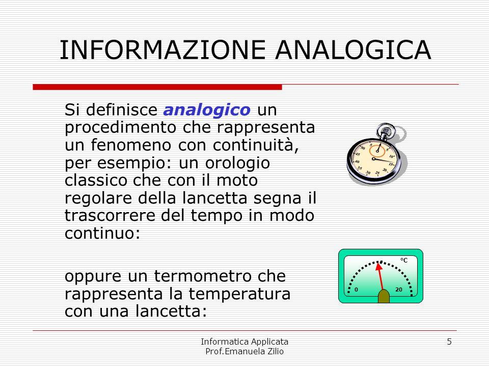 Informatica Applicata Prof.Emanuela Zilio 5 INFORMAZIONE ANALOGICA Si definisce analogico un procedimento che rappresenta un fenomeno con continuità,