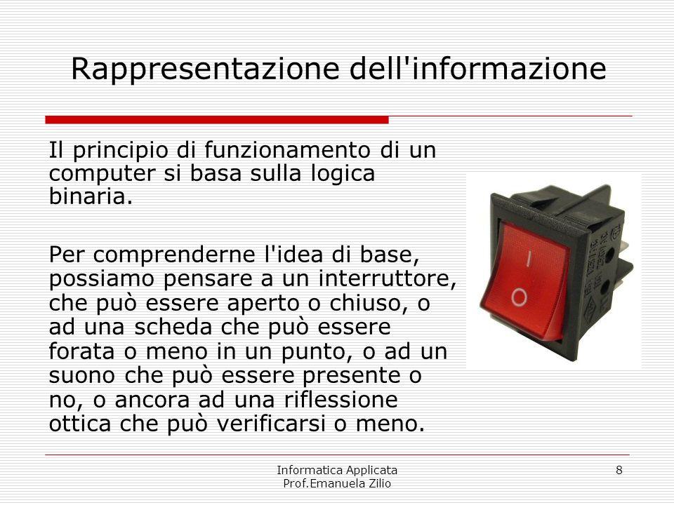 Informatica Applicata Prof.Emanuela Zilio 8 Rappresentazione dell'informazione Il principio di funzionamento di un computer si basa sulla logica binar