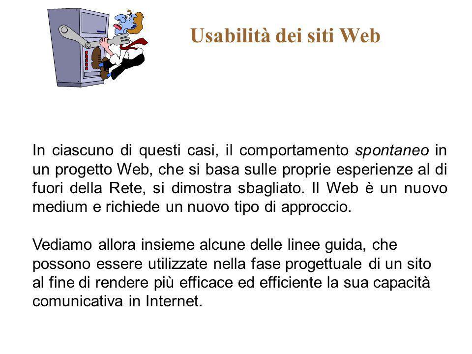 Usabilità dei siti Web In ciascuno di questi casi, il comportamento spontaneo in un progetto Web, che si basa sulle proprie esperienze al di fuori del